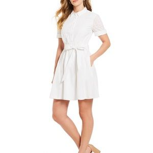 Isaac Mizrahi white eyelet fit and flare dress